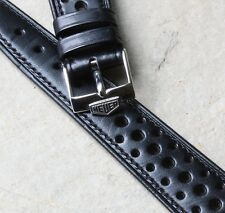 Original black 21mm vintage rally strap 1960s/70s NOS with Heuer buckle 3 sold