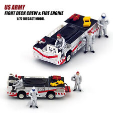 US ARMY Fight Deck Crew Fire Engine W/3 figures 1/72 DIECAST CAR MODEL FINISHED