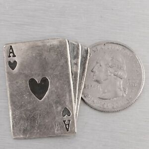 Vintage Far Fetched 925 Sterling Silver Ace of Hearts Brooch Pin MEXICO RARE