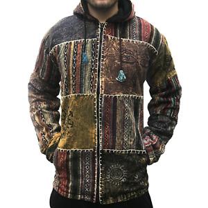 Hippie Patchwork Hooded Winter Vintage Baggy Festival Hoodie Womens Mens Jacket