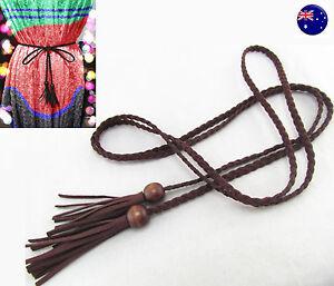 Women Lady Bohemian Boho Braid Long Suede leather Tassel Waist Belt Band Tie