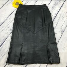 Leather 2000 Long Pleated Skirt Womens Size 10 100% Genuine Leather Black bt3373