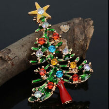 Fashion Christmas Party Gift Enamel Rhinestone Crystal Christmas Tree Pin Brooch