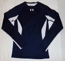 Under Armour Coldgear Fitted Shirt S M Blue White Youth Boys Base Layer Top