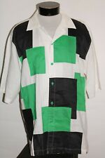 PJ MARK Hommes XL Lin Vintage Street-Wear Bouton-Up Chemise