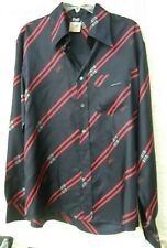 D&G DOLCE & GABBANA BLACK SILK MENS SHIRT WITH D&G LOGO & SIGNATURE BELTS SZ XL