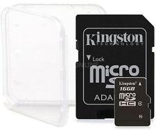2 PACK 16GB KINGSTON CLASS 4 micro SD SDHC microSD Flash Memory Card Lot + CASE