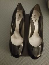 KENNETH COLE REACTION BLACK PATIENTS SHOES WITH CLEAR WEDGE HEELS.  GORGEOUS!