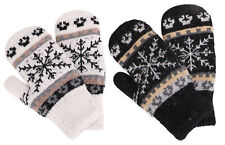 Kids Boys Girls Winter Warm 2 Pairs Sherpa Lined Knit Fur Lined Gloves Mittens