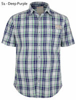 ESPRIT Men's Slim Short Sleeve Check Casual Cotton Shirt Deep Purple Small S