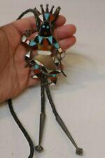 Zuni V. Luna Sterling Bolo With Inlaid Multi Stone's - Apache Dancer Design