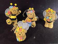Roman 1996 Bumble Bears 4 Pc Miniature Bumble Bee Bears Ornaments New Old Stock