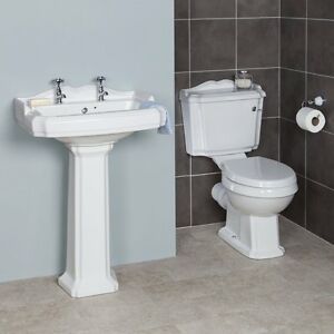 Traditional Style Close Coupled Victorian Toilet Soft Close Seat basin pedestal