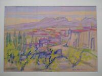 Superbe paysage fauve tableau Paul René Poulain fauvisme paysage Provence
