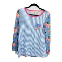 Matilda jane medium top Womens striped floral blue pink long sleeve boho