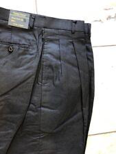 NWT Giorgio Inserti  PLEATED 100% LINEN BLACK PANTS MENS SIZE 36