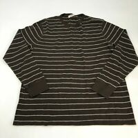Old Navy Shirt Men's 2XL XXL Long Sleeve Brown White Striped Waffle Knit