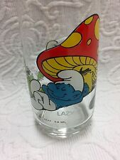 1982 Hardee's Smurf Glass Featuring Lazy Smurf