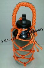 Paracord Bottle Carrier Net Handle for Yeti , Ozark & Rtic 64oz Bottle orange