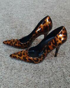 Women's ALDO Leopard Print Pointed Toe High Heels Pump Shoe -sz 7.5 - 38 - heel