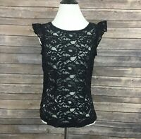 Tulle Lace Zip Back Sleeveless Top (Size: S)