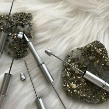 Beadable Plastic Pens Retractable Writing Instrument DIY Craft Beaded Pen Silver