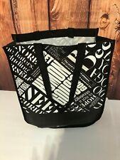 Lululemon Reusable Shopping Bag Graphic Snap Closure Black White