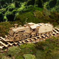 ROKR Wooden Train Model Kits 1:80 DIY Locomotive Assembley Toy Gift for Kids Boy