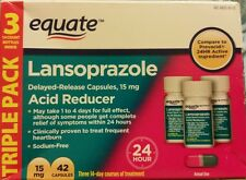 2x Equate Lansoprazole 42 Capsules 15 mg 24 Hour Acid Reducer  exp 09/17+