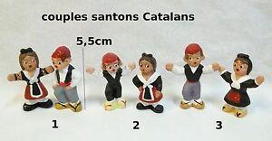couple de santons catalans,céramique fait main,décoration,vitrine ,collection