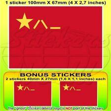 "CHINA People's Liberation Army PLA Chinese Flag 4"" Sticker, Decal x1+2 BONUS"