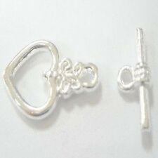 10 Sets Silver Heart Toggles Clasps - A6402