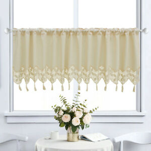 Kitchen Cafe Curtain Window linen Curtains Hand Crocheted Lace Country Cottage