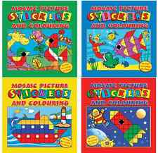 SET OF 4 MOSAIC STICKER & COLOURING BOOKS CHILDRENS KIDS ART CRAFT ACTIVITY 3105