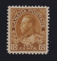 Canada Sc #118b (1925) 10c yellow brown Admiral Mint VF NH MNH