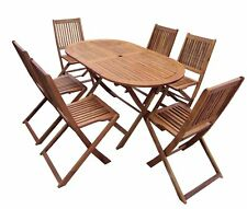 Charles Bentley Wooden Garden Furniture Patio Oval Table and 6 Chairs 7Pc Set