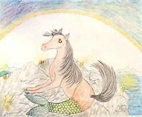MERMAID HORSE 8 x 10 Fantasy Art Print Signed by Artist KSams Merhorse