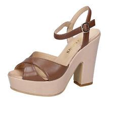 scarpe donna OLGA RUBINI 36 EU sandali marrone beige pelle BY317-B