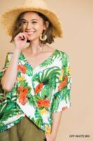 UMGEE Tropical Floral Print Crossbody Top Size SML & Plus Size XL 1X 2X