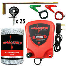 Mains Electric Fence Energiser ShockRite SRM412 1.2J 200m Wire 25 insulator Kit