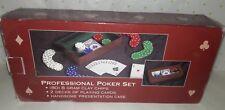 Macys Professional Poker Set (80) 8 Gram Clay Chips 2 Decks of Cards Velvet Case