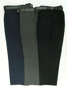 Boys School Uniform Trousers Bottoms Pants Sturdy Bigger Wide Fit Teflon Belt  7