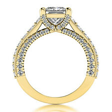 3.15 Carat VS2/H Natural Princess Cut Diamond Engagement Ring Yellow Gold 14K