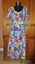 VTG 80s Floral Garden Colorful Print Rayon Boho Gypsy Country Flared Midi DRESS