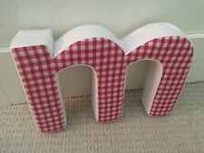 Not on The High Street decorative red gingham letter 'M' wall hanging