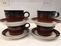 Mikasa Ben Seibel Potters Art Fire Song 4 cups mugs saucers  MCM brown blue