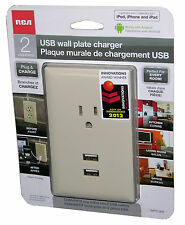 RCA Audiovox WP2UAR USB Wall Plate Charger, for iPod, iPhone, iPad, Phone & More