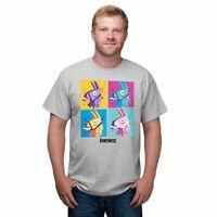 NWT Men's Gray Fortnite Llama Grid Block Party Pop Art Tee T-Shirt Epic Games 👕