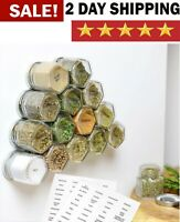 High Strength Magnetic Hexagon Glass Spice Jars With Stainless Steel Lids 15Pack