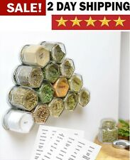 New listing High Strength Magnetic Hexagon Glass Spice Jars With Stainless Steel Lids 15Pack